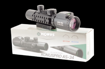 Konus Pro AS-34 2-6x28 Tactical Rifle Scope Red/Blue Glass Etched Illuminated Mil Dot Reticle, Bubble Level, dual picatinny/airgun mount
